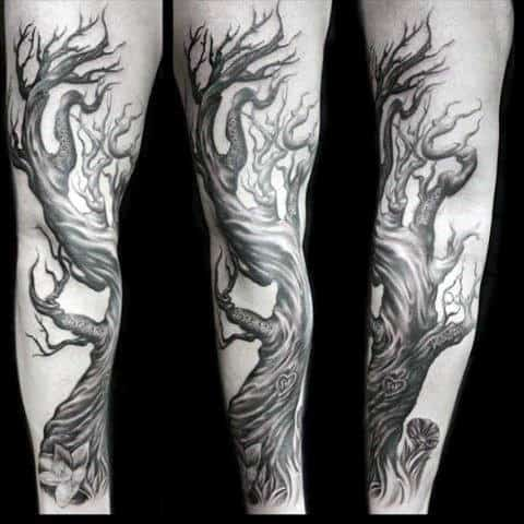 Curved Family Tree Branches Arm Tattoo For Guys