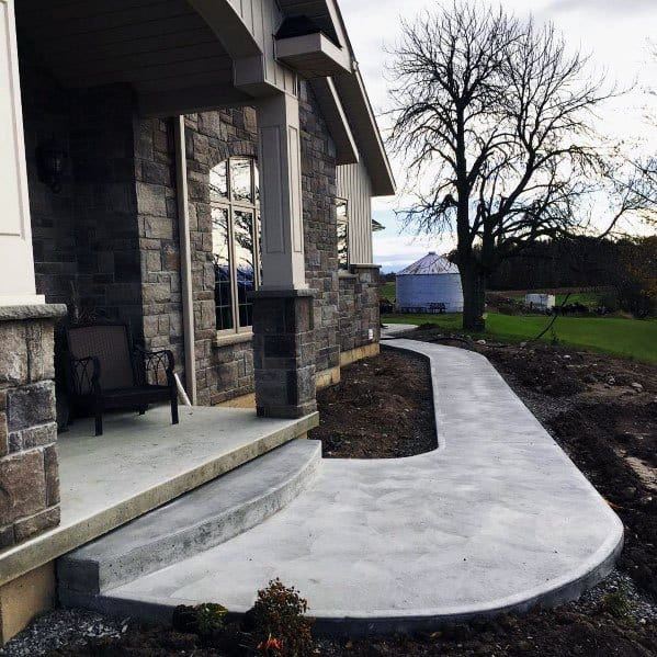Curved Front Yard Concrete Walkway Exterior Ideas