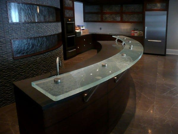 Curved Glass Bar Top Material Ideas