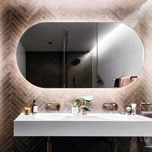 Curved Led Behind Mirror Design Ideas Bathroom Lighting