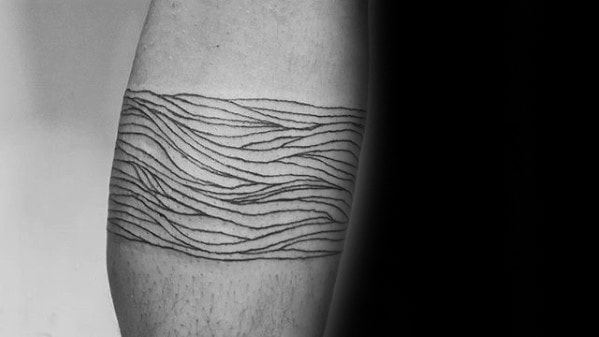 Curved Lines Mens Leg Band Tattoo Design Ideas