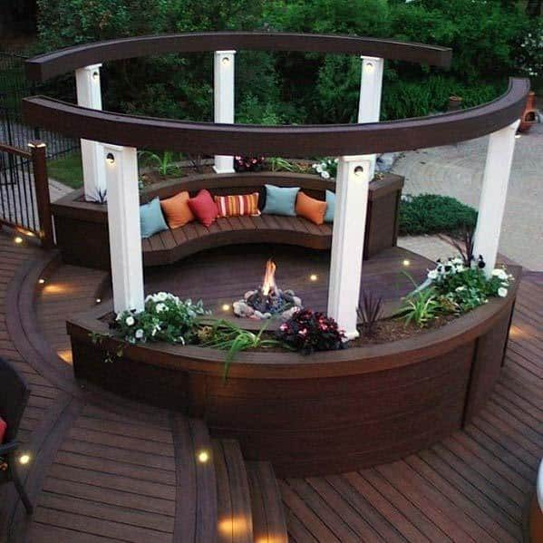 Curved Luxury Cool Composite Deck Bench With Firepit In Center