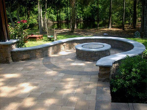 Curved Paver Stone Backyard Design Ideas Patio Firepit