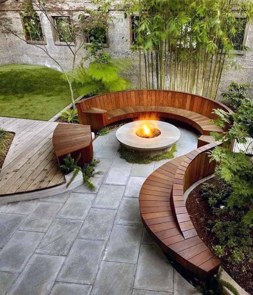 Curved Seating Excellent Backyard Ideas Fire Pit Landscaping