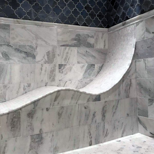 Curved Tile Built In Shower Bench Ideas