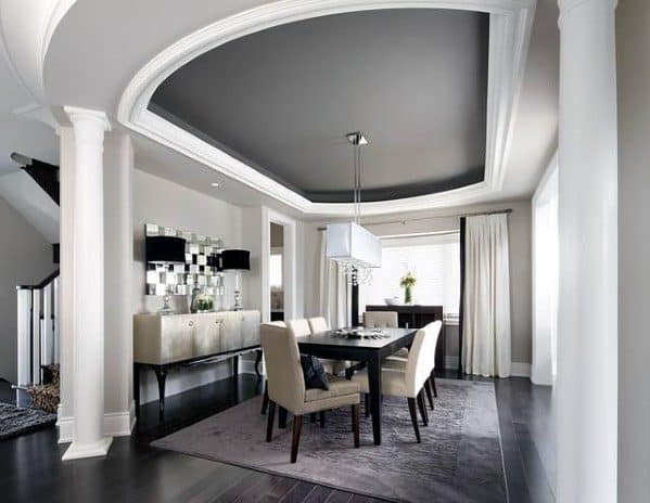 Curved Trey Ceiling Ideas Painted Grey With White Molding