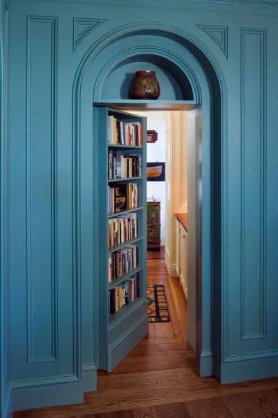 Curved Wall Molding With Bookcase Remarkable Ideas For Hidden Door