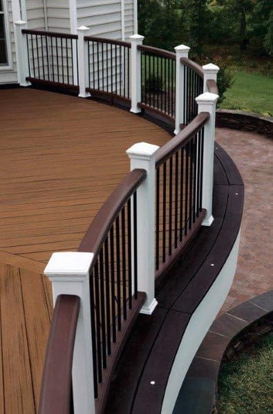 Curved White And Brown Composite Deck Railing Cool Exterior Ideas