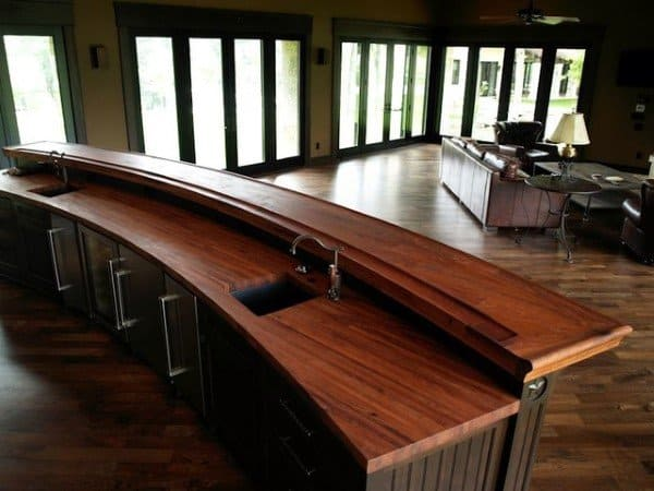 Curved Wood Bar Top Ideas