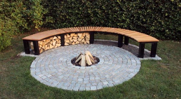Curved Wood Design Ideas Fire Pit Seating