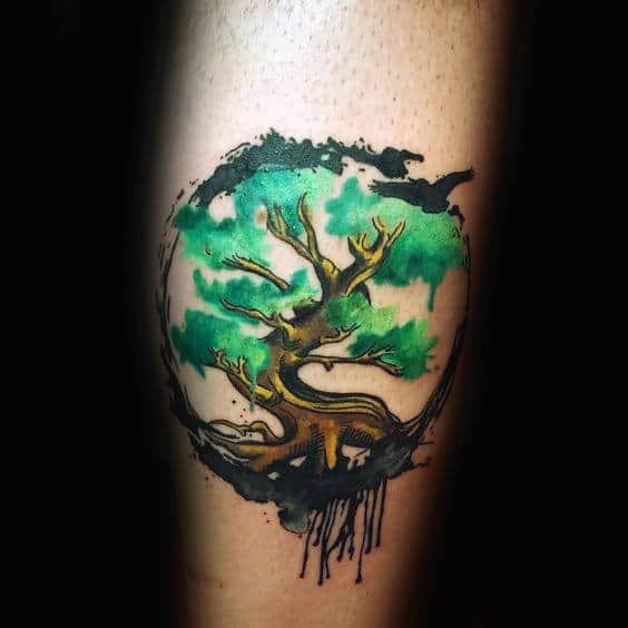 Curvy Green Watercolor Tree Tattoo Male Forearms