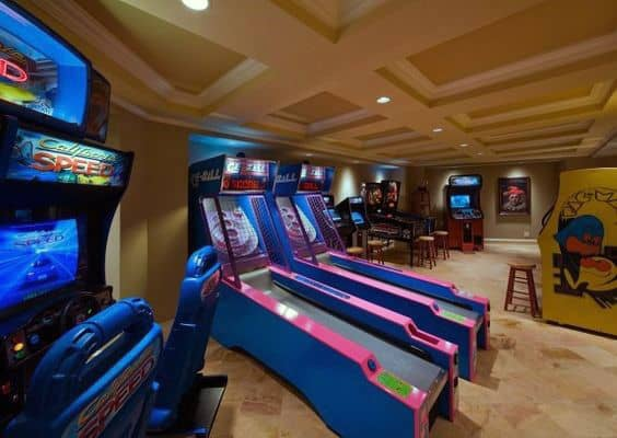 Custom Basement Arcade Mens Game Room Ideas