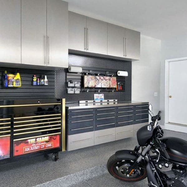 Custom Cabinets For Tool Storage Masculine Organized Garage Ideas