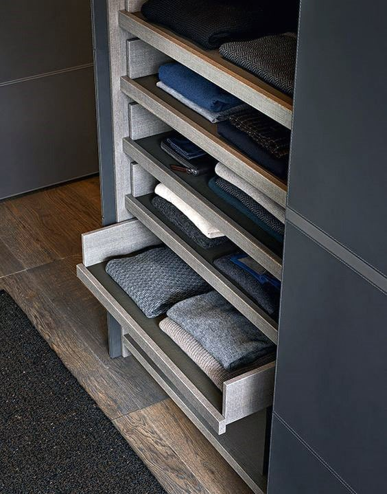 Custom Closet Pull Out Drawers For Shirt Clothing