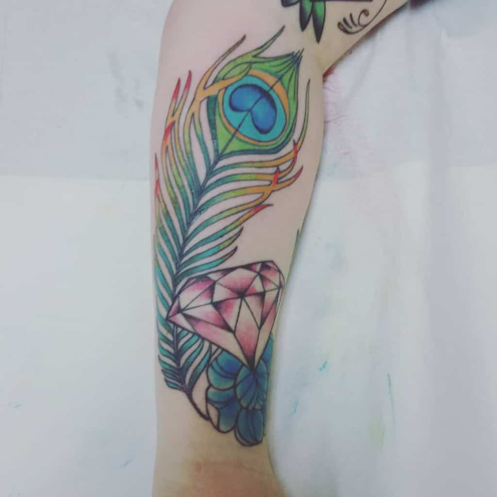 Custom Color Peacock Feather Tattoo