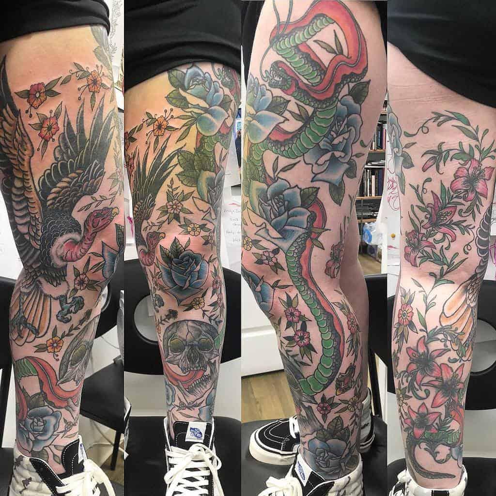 custom-color-skull-snake-leg-sleeve-tattoo-dannytattooer