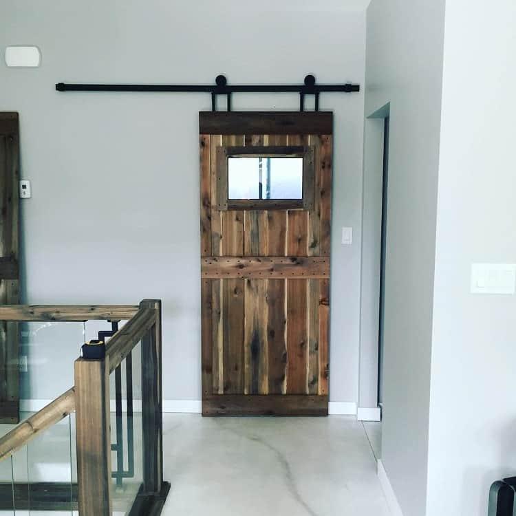 Custom Dark Wood Bard Door With Glass