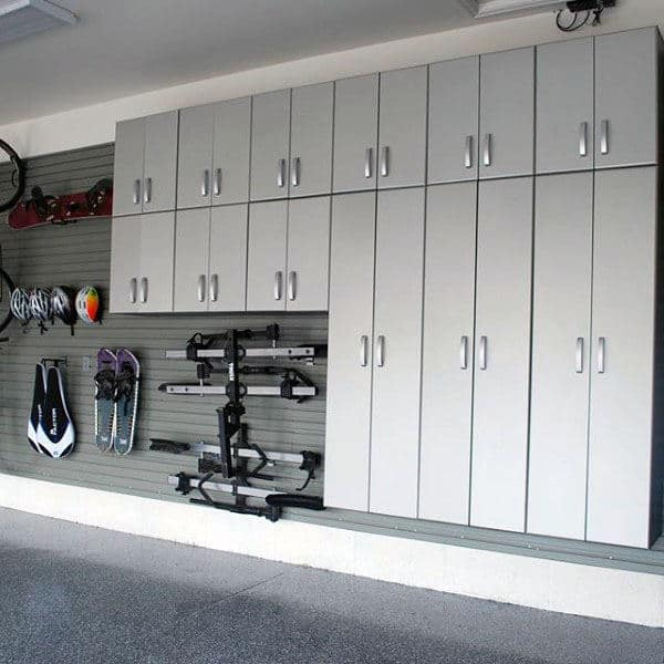 Custom Garage Cabinet Ideas With Slat Board