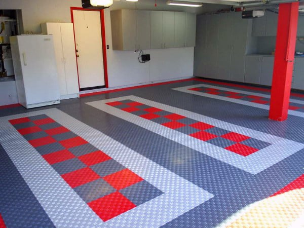 Custom Garage Floor Coverings Red And Grey