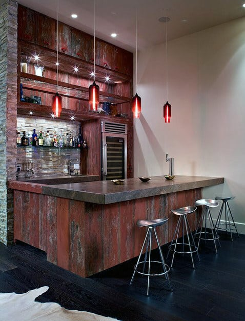 Custom Home Basement Man Cave Bar Designs