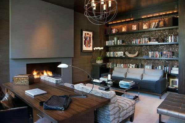 Custom Home Library With Fireplace