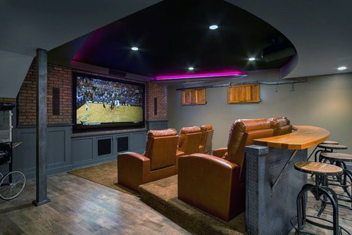 Custom Movie Room Basement With Bar Table