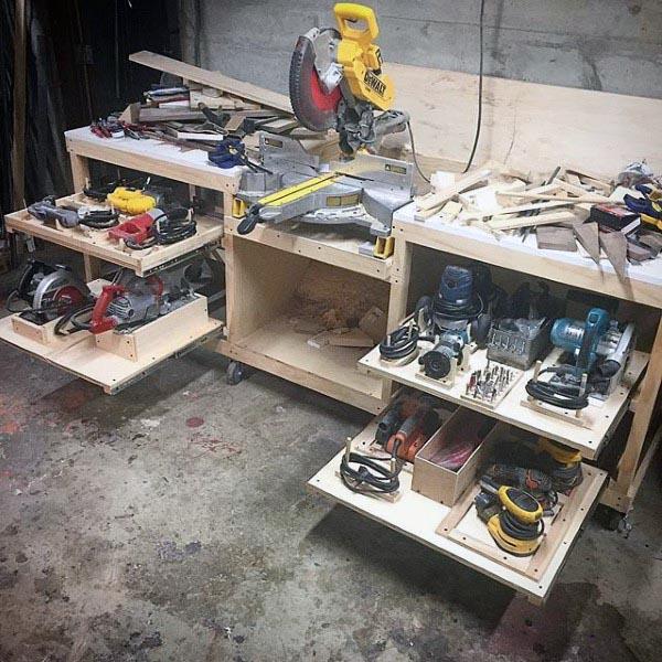 Custom Slide Out Cabinet Workshop Power Tool Storage Ideas