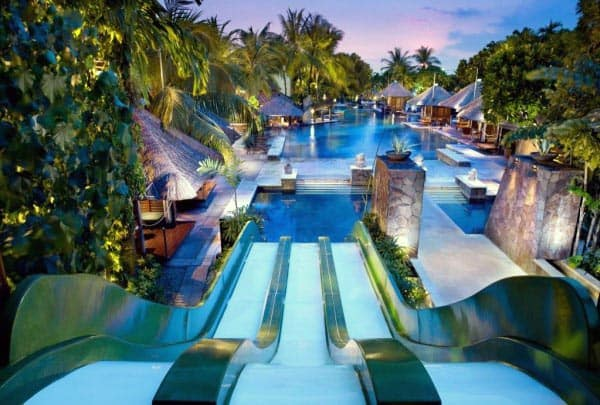 Custom Waterslides In Swimming Pool Design