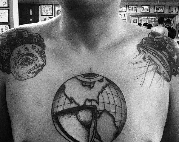 Cut Open Globe Mens Chest Tattoos
