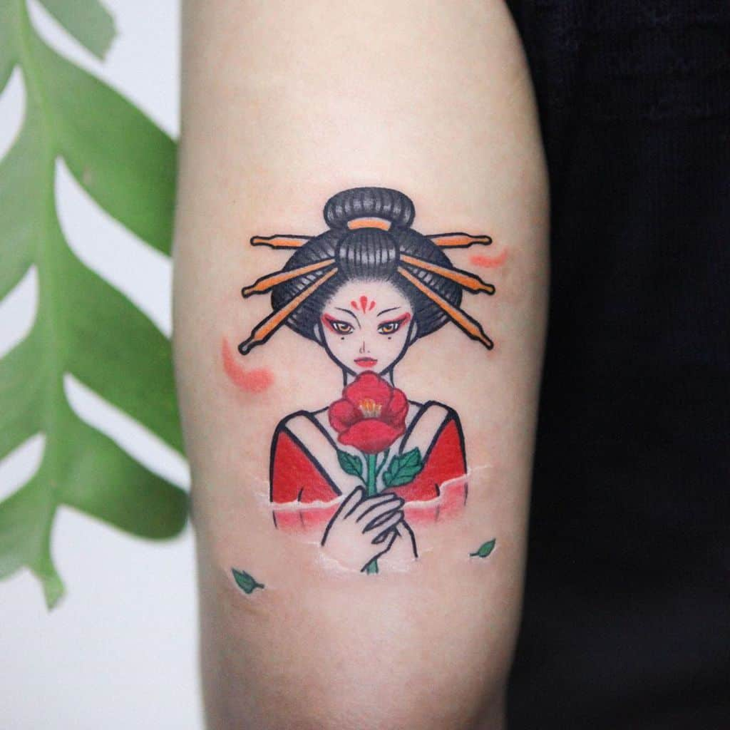 Cute Art Red Geisha Tattoo