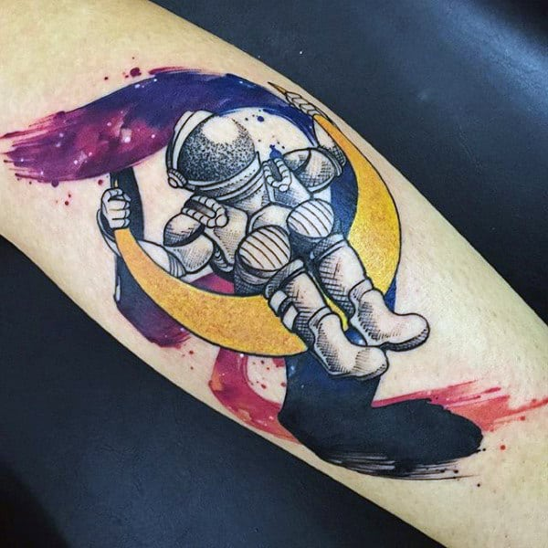 Cute Astro On Moon Watercolor Tattoo On Forearm For Men