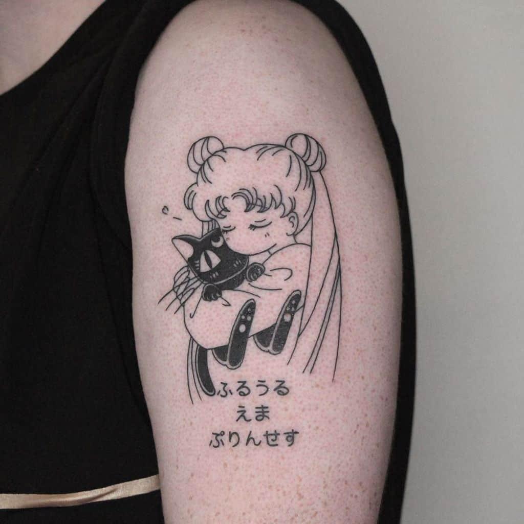 Cute Cat Love Sailor Moon Tattoo