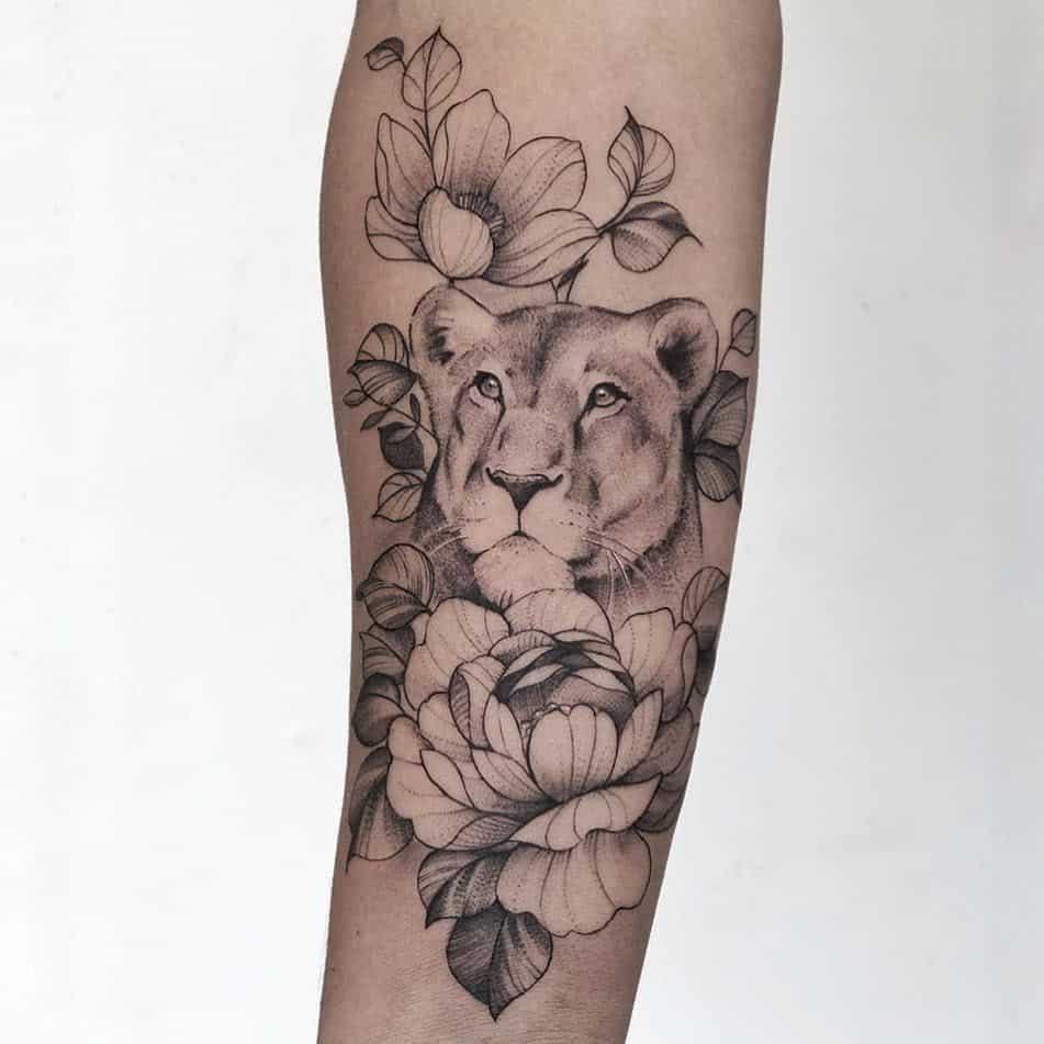 Cute Flower Black Lion Tattoo