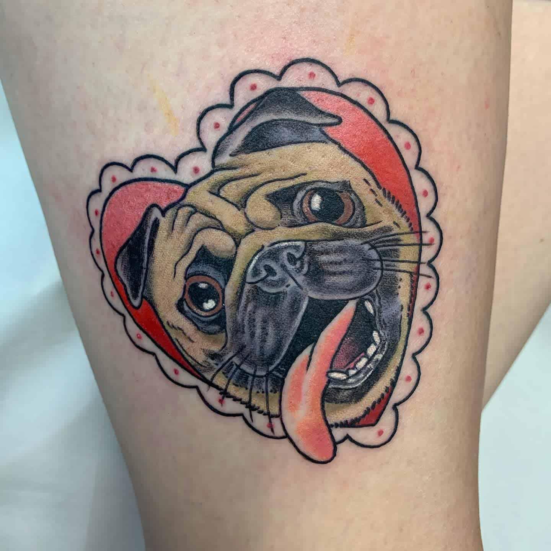 Cute Pug Tattoo Bendaviestattooer