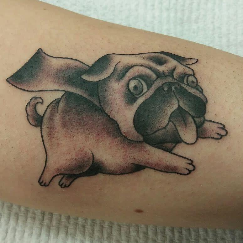 Cute Pug Tattoo Jasonthetattooer