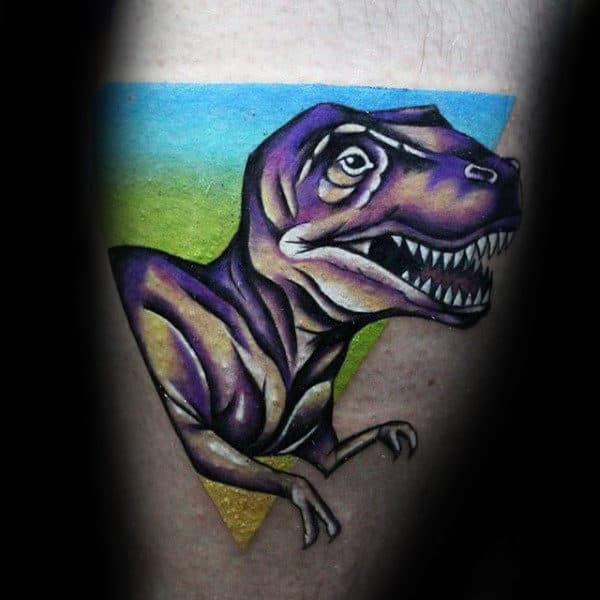 Cute Purple Dinosaur Tattoo Male Forearms
