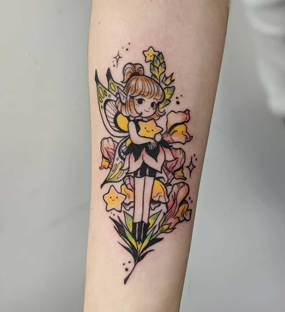 Cute Sweet Fairy Line Work Tattoo