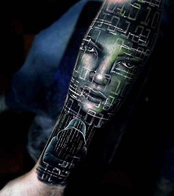 Cyber Themed Forearm Sleeve Great Mens Tattoo Designs