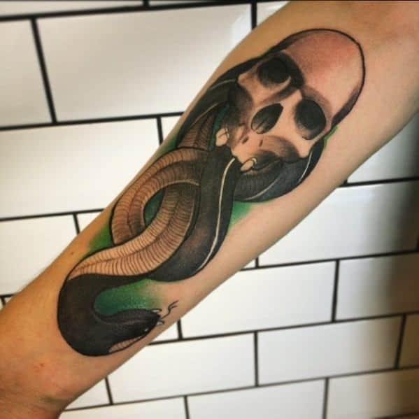 D Shaded Forearm Guys The Dark Mark Tattoos