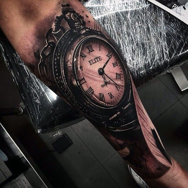 100 pocket watch tattoo designs for men cool timepieces. Black Bedroom Furniture Sets. Home Design Ideas