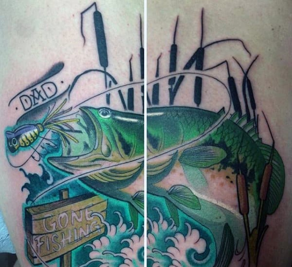 Dad Gone Fishing Bright Tattoo Inspiration For Guy