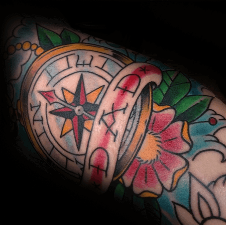 Dad Memorial Mens Traditional Compass Arm Tattoo Designs