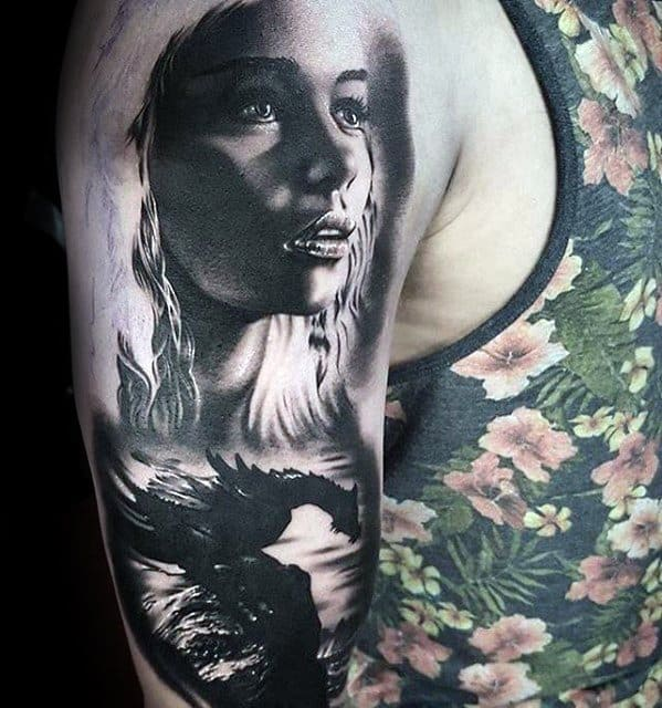 Daenerys Targaryen 3d Half Sleeve Game Of Thrones Tattoo Ideas For Males