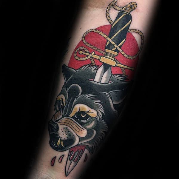 Dagger And Wolf Mens Old School Forearm Tattoos
