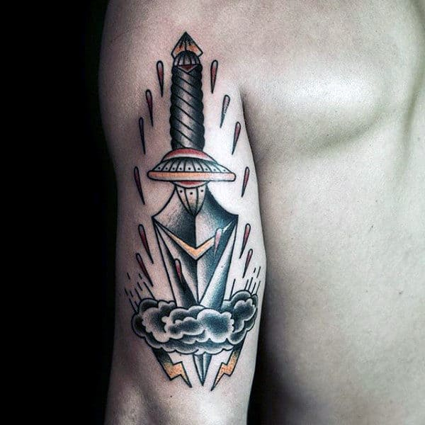 Dagger Going Through Cloud Mens Tattoos On Back Of Arm