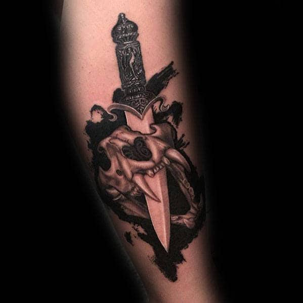 Dagger Lion Skull Arm Tattoos For Men