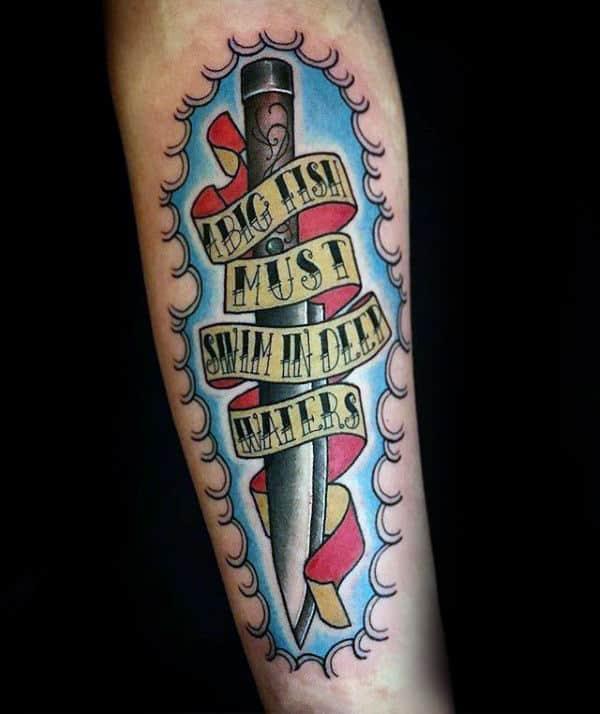 60 Banner Tattoos For Men Waving Word Ink Design Ideas