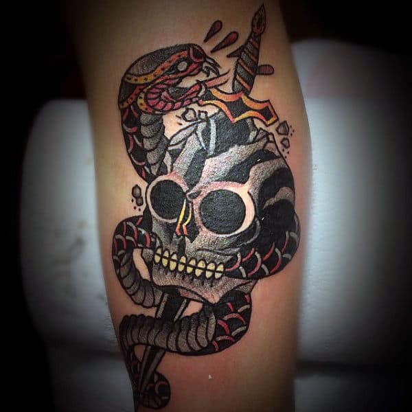 9aea362542415 Dagger Snake And Skull Mens Traditional Old School Arm Tattoo