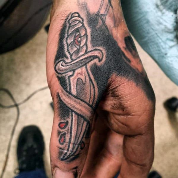 Dagger Sword Knuckle Tattoos For Men