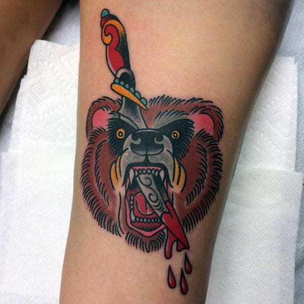 Dagger Through Bear Head Mens Traditional Leg Tattoos